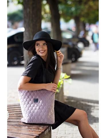 torebka shopperka welurowa pikowana czarna
