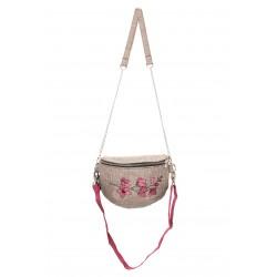 Nerka/Mini torebka - beżowa z haftem